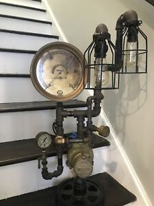 Steampunk Unfinished Lamp Project Antique Vtg Schaeffer Gauge Brass Iron Parts