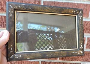 Antique Eastlake Victorian Small Brown Incised Corners Old Glass Picture Frame
