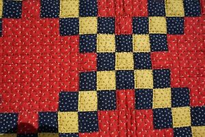 Double Sided Vintage Amish Baby Quilt 41 1 2 Inches Square Unwashed Dazzling