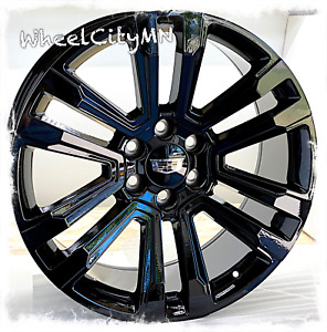 22 X9 Inch Gloss Black 2018 2017 Cadillac Escalade Oe Replica Wheels 6x5 5 24
