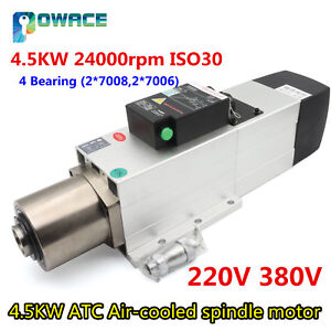 4 5kw 220 380v Atc Automatic Tool Change Air cooed Cnc Spindle Motor 800hz Iso30
