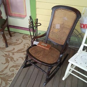 Antique American Victorian Cane Rocking Chair Quality Is In The Details