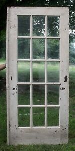 36 X84 Antique Vintage Wood Wooden Exterior Entry French Door Window Wavy Glass
