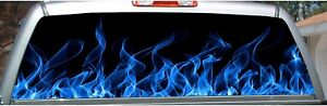 Blue Flame Rear Window View Thru Graphic Decal Wrap