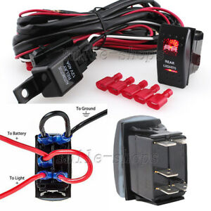 12v On off 5 Pins Red Rear Light Rocker Switch Wiring Harness Relay Fuse