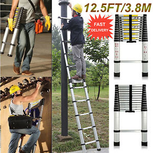 12 5ft Aluminum Multi Purpose Telescopic Ladder Extension Foldable Steps 331lbs