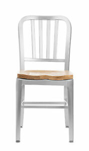 Set Of 2 Brushed Aluminum Navy Style Restaurant Dining Chairs Oak Seat