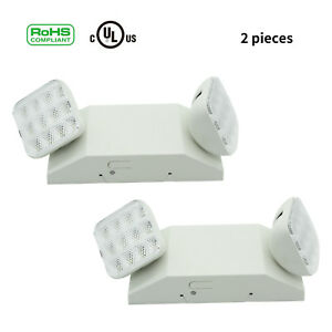 2pc Emergency Exit Light Indoor Led Lamp Lighting Fixture Twin Square Heads Ul