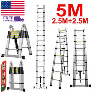 5m 16 5ft telescopic Folding Ladder Extendable Stepladder Aluminum150kg Max Load