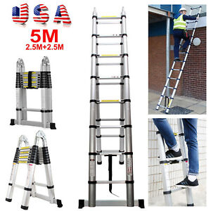 Portable Telescopic Folding Ladder 5m 16 5ft Extendable Ladder Heavy Duty 150kg