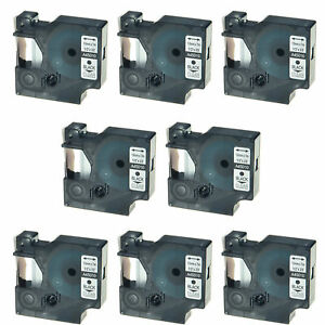 8pk 45010 Black On Clear Label Tape Cassette For Dymo D1 Labelmanager 420p 1 2