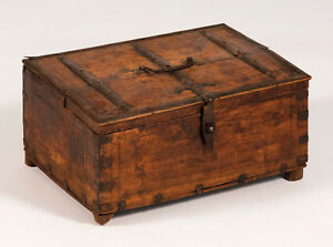 Antique 18th Century Continental Bible Document Box Hardwood With Iron Mounts