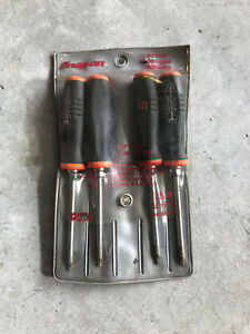 Snap On Orange Black Mini Soft Grip Handle Torx Screwdrivers 4 Pcs Set Sgtx40o