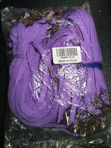 100 Purple Flat Lanyards With Steel Bulldog Clip 3 8wide Waterproof Id Holder