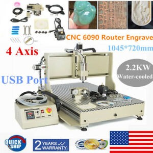 4axis Usb 6090 2200w Vfd Cnc Router Engraver Milling Drilling Machine Metal