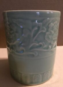 Asian Celadon Green Floral Vase Brush Pot Bamboo Tea Tools Japanese Tea Ceremony