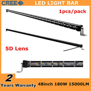 5d Slim Single Row 48 Inch 180w Led Light Bar Boat Truck Drl Suv Offroad 50 52