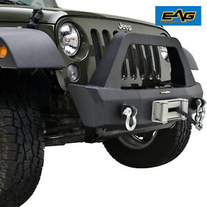 Eag 07 18 Jeep Wrangler Jk Stubby Front Bumper With Winch Mount Plate And D Ring