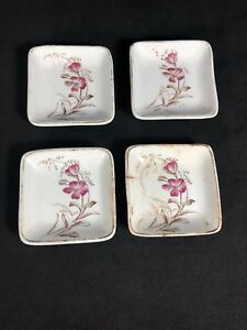 Antique English Porcelain Wood Sons Butter Pat Set Of 4 Brown Red Flowers 13q