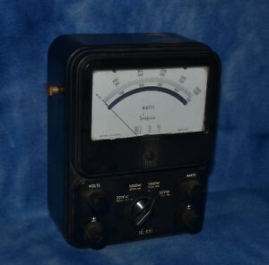 Vintage Simpson Model 880 Bench Power Meter 2000 Watts Ac Watt Meter Rare