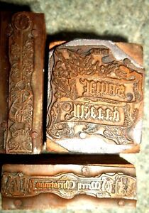 4 Antique Christmas Wood Copper Letterpress Printing Type Blocks Stamps Gift