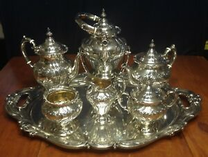Stunning Gorham Sterling Silver 7 Pc Coffee Tea Set Chantilly Countess Pattern