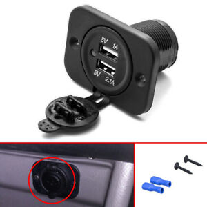 Universal 3 1a 12v Led Dual Usb Port Charger Socket Outlet For Motorcycle Car