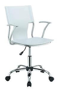 Contemporary Office Chair With White Upholstered Seat And Chrome Frame 801363