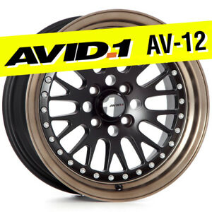Avid 1 Av 12 15x8 Flat Black bronze 4x100 25 Wheels set Of 4 Classic Mesh Jdm