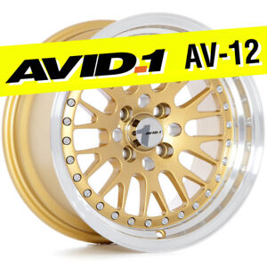 Avid 1 Av 12 15x8 Gold 4x100 25 Wheels set Of 4 Classic Mesh Jdm
