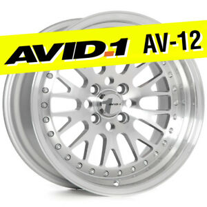 Avid 1 Av 12 15x8 Silver Machined 4x100 25 Wheels Set Of 4 Classic Mesh Jdm