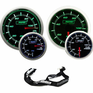 Prosport 52mm Universal Electric Green White Gauge Kit Oil Fuel Pressure