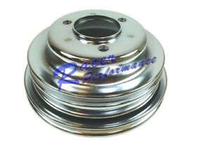Bbc Chevy 3 Groove Chrome Crankshaft Pulley For Long Water Pump 396 427 454