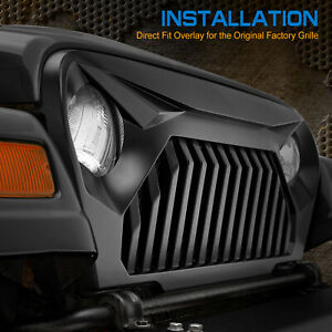 97 06 Jeep Wrangler Tj Overlay Fury Grille Front Hood Black Grill No Painted