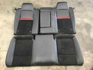 2010 Dodge Challenger Srt8 Rear Seat Set Leather Suede Black Red Stripe