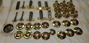 Lot 6 Sets Matching Brass Vintage Door Knobs Mortise Latches