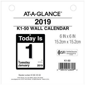 At a glance 2019 Daily Wall Calendar Refill 6 X 6 Mini One Page Per Day t