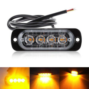 4 Led Strobe Warning Light Grille 24v 12v Traffic White Yellow Amber Lamp