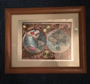 A New And Accvrat Map Of The World Foiled World Map Framed Matted