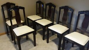 Set Of Six Original And Refurbished French Art Deco Dining Room Chairs Walnut