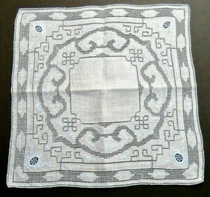 Antique Appenzell Linen Hanky Blue Floral Embroidery Geometric Mosaic Wedding