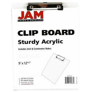 Jam Paper Plastic Clipboards 9 X 13 In Clear Clipboards Pack Of 12