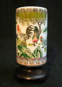 Antique Chinese Porcelain Brush Pot Hand Painted Roosters Chickens On Stand