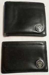 Gucci Men s Wallet Business Card Holder Black Leather Set Enameled Crest Italy
