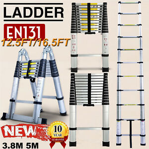 16 5ft Multi purpose Aluminium Telescopic Ladder Extension Extendable Power Step
