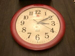 Antique Vintage 555 Shanghai Red Wall Clock Analogue Analog Wooden China Chinese
