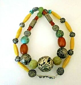 Big Vintage Antique Chinese Shou Carved Beads Amber Jade Turquoise Necklace 31