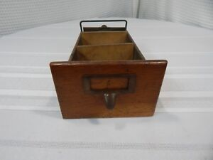 Vintage Oak Filing Cabinet Index Card Draw