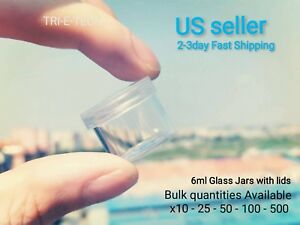 100 6ml small Non stick Smell Proof Borosilicate Glass Jars vials With Lids
