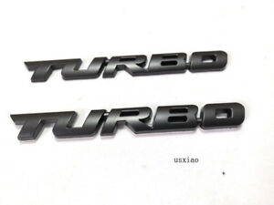 2pcs New Black Tubro Badge Emblem Decal Sticker Of Turbo Charged Engine